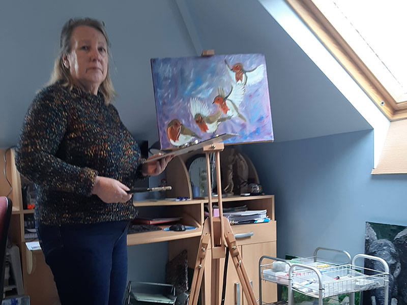 Jan in her studio