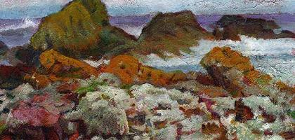 Orange Rocks, St Abb's Head Acrylic on paper  St Abb's Head is a wind-swept rocky promontory by the village of St Abb's in Berwickshire. It is a haven for thousands of nesting sea birds and is protected by the National Trust for Scotland. Although not a particularly blustery day when I visited, there were still waves crashing against the tumble of fallen and broken rocks. Sea-thrift grows well here amongst a variety of small plants holding their own against sea-spray and fierce winds. I loved t